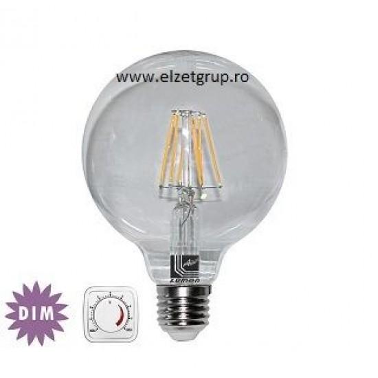 Bec led 10W E27 COG Decorativ Dimabil G125 Alb Cald Lumen