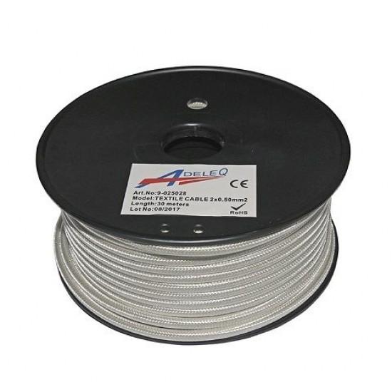 Cablu textil colorat 2x0.5 alb perla 9-025028