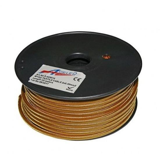 Cablu textil colorat 2x0.5 auriu bronz 9-025015