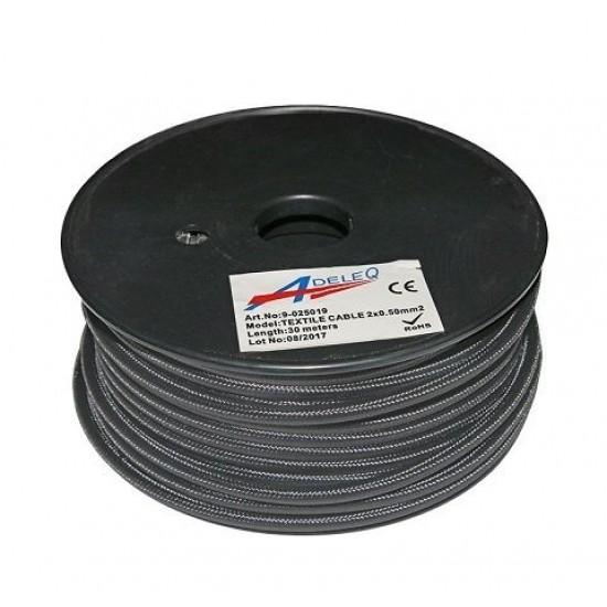 Cablu textil colorat 2x0.5 gri grafit 9-025019