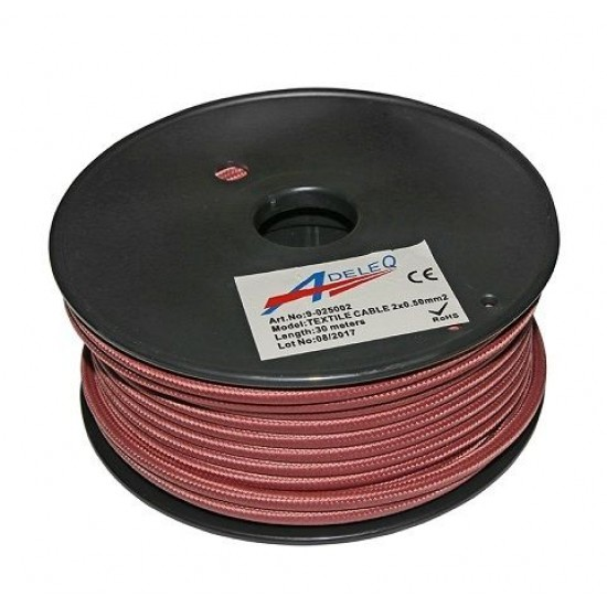 Cablu textil colorat 2x0.5 roz metalizat 9-025002