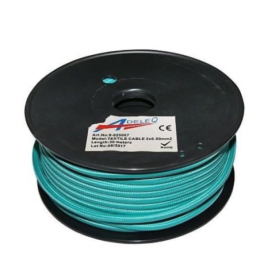 Cablu textil colorat 2x0.5 turcoaz 9-025007